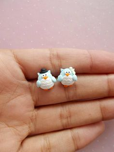 Owl earrings created from polymer clay without molds or forms. The lenght of each earring is 1 cm.  ❀ Because i make everything by hand, the item you receive may differ slightly than shown on the pictures.  ❀ Price is for one pair of earrings.  ❀ I ship the orders very quickly, in 1 to 3 days