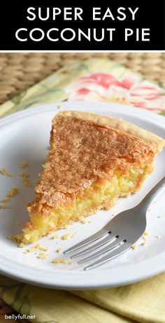 This super easy French Coconut Pie recipe is sweet, buttery, and crispy. With only 5 minutes of prep! Similar to Impossible pie where its own top crust forms from baking. It is truly the easiest and most delicious pie ever! French Coconut Pie, Pie Coconut, Toasted Coconut Pie Recipe, Pie Dessert, Dessert Recipes, Easy Pie, Coconut Recipes, Just Desserts, Food To Make
