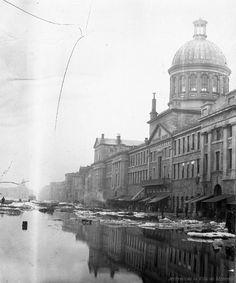 Inondation rue Des Commissaires : 1886 / Leclerc . - Reproduction le 13 janvier 1969. Archives de la Ville de Montréal. VM94-Z1807