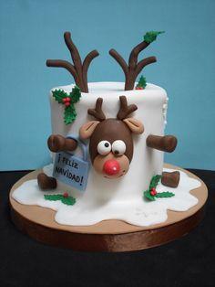 Fondant Christmas Cake, Mini Christmas Cakes, Christmas Themed Cake, Christmas Cake Designs, Christmas Cake Topper, Christmas Deserts, Christmas Cake Decorations, Holiday Cakes, Christmas Baking