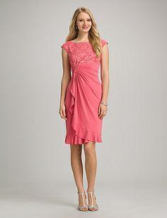 Ruffled Lace Top Faux Wrap Dress