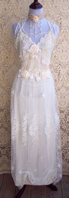 so elegant!   French Vintage Lingerie Wedding Gown  Italian by roselanijasmin, $385.00