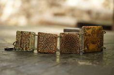 Medieval Tiles Bracelet  Links Bracelet  Brown by VirtusFormae