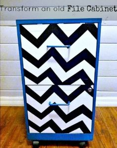 easy transformation for an old file cabinet, home decor, kitchen cabinets, painting, Add Chevron stripes and teal spray paint to transform a boring metal cabinet