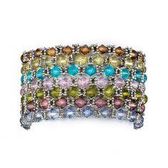 "Multi-Color Crystal Silvertone Metal 7-Piece Stretch Bracelet Set 7"""