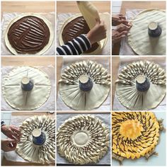 tarte_soleil come_fare_la_torta_girasole_di_pasta_sfoglia_nutela_foto_passo_passo Bread Recipes, Cake Recipes, Cooking Recipes, Nutella Puff Pastry, Cooking Company, Middle Eastern Desserts, Bread Shaping, Bread Art, Chocolate Pies