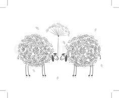 Vector of 'Two funny sheeps, sketch for your design' on Colourbox