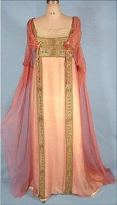 c. 1912, Jeanne Hallee, Paris; pink gossamer silk chiffon gown; front view
