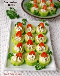 Cucumber Bites Appetizers « Valya's Taste of Home Make Ahead Christmas Appetizers, Appetizers For A Crowd, Thanksgiving Appetizers, Easy Appetizer Recipes, Holiday Appetizers, Healthy Appetizers, Food For A Crowd, Party Appetizers, Christmas Recipes