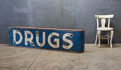 Old Pharmacy DRUGS signage, Neon Vintage Mercantile Modern50.com