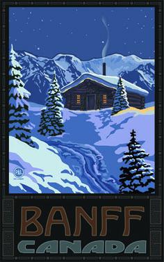 PAL-2344 WMC Banff Canada Winter Mountain Cabin - Northwest Art Mall