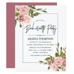 #bachelorette #party #invitations - #Watercolor floral Blush and Rose Gold Bachelorette Card