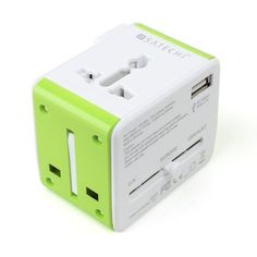 TheSatechi Smart Travel Router is a multiple country power plug adapter, USB power port and built-in WiFi router all rolled into a package about the size of a normal power adapter.