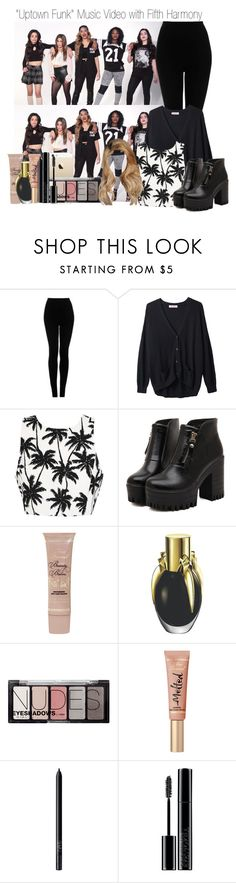"""""""""""Uptown Funk"""" Music Video with Fifth Harmony"""" by sleepwalkiing ❤ liked on Polyvore featuring Topshop, Organic by John Patrick, Dr. Martens, Too Faced Cosmetics, H&M, NARS Cosmetics and Giorgio Armani"""