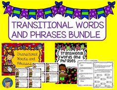 Save OVER 20% when you buy this transitional words and phrases bundle.  This resource contains task cards, as well as activities to use for classwork, homework, or a literacy center.  You may also purchase individually.Task CardsTransitional words and phrases are important tools to use in your writing.
