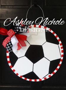 Show your team spirit with one of our wooden soccer ball door hangers. Let us know at checkout what colors and personalization you would like. All of our door decorations are proudly hand painted in the USA! Made of 1/4 plywood. Painted with outdoor quality paint. Painted black on the back for that polished look.  20 round