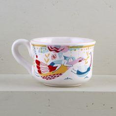 "Taza de Té Ilustrada   Vajilla de cerámica de diseño ""Amor Astral"" por Ana Sanfelippo    Illustrated Tea Cup   Ceramic designed tableware ""Astral Love"" by Ana Sanfelippo"