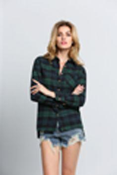 Green Blue Long Sleeve Checks Plaid Checkered Loose Blouse