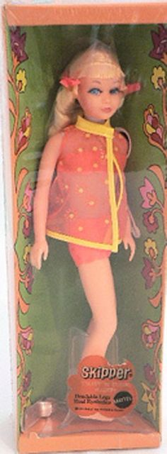 Twist 'N Turn Skipper 1970; Skipper Roberts was a doll created by Mattel in 1964 to be Barbie's younger sister