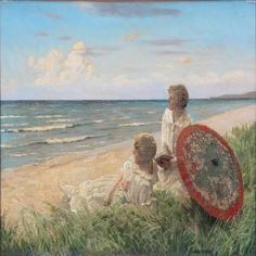 Paul Gustave Fischer (1860-1934): Two Ladies In White Summer Dresses On The Beach