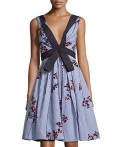 Sleeveless+Embroidered+Gingham+Dress,+Blue+by+Marc+Jacobs+at+Bergdorf+Goodman.