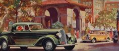 The Edgewater Beach Hotel is used as backdrop in an advertisement for the Oldsmobile Six and Straight Eight, 1933, Chicago.