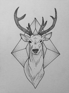 Black Deer Tattoo Design   Fresh 2017 Tattoos Ideas