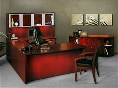 Corsica series wood veneer executive desk with glass door hutch. This luxury office furniture set is available in 2 finishes. #WoodOfficeFurniture #CorsicaFurniture
