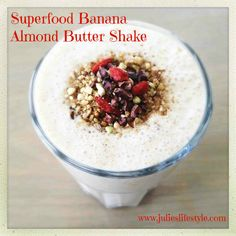 Are you craving something sweet & creamy? This Raw Vegan Superfood Banana Almond Butter Shake tastes just like Sweet cookie dough