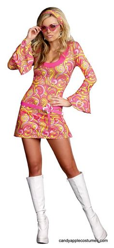 Look gorgeous while you go go dance in this sexy adult 70's costume! Includes stretch knit A-line go go dancer dress in a retro pattern of pink, yellow and orange, with bell shaped long sleeves; matching retro glasses; clip-on earrings; and pink faux vinyl daisy belt.
