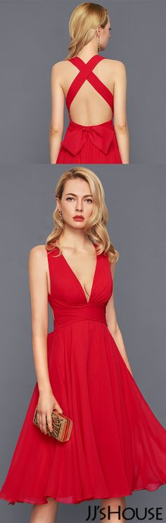 A-Line/Princess V-neck Knee-Length Chiffon Cocktail Dress With Ruffle Bow(s)#JJsHouse #Cocktail dresses