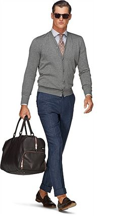 Grey Cardigan, blue trousers, brown shoes, no socks needed! Cotton Cardigan, Grey Cardigan, Men's Outfits, Stylish Outfits, Brown Shoes Outfit, Suit Supply, Smart Outfit, Elegant Man, Blue Trousers
