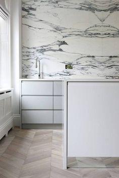 Chevron Wood Floor Ideas Gray Marble Kitchen