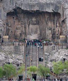 Longmen Grottoes, China - Buddhas and Bodhisattvas carved into 1,350 caves and 750 niches along the limestone bank of the Yi River form thousands of examples of sophisticated Chinese art from the fifth through the ninth centuries. Some are more than 25 feet tall, and the total number is estimated to be 110,000. One cave even displays numerous carved medical prescriptions.