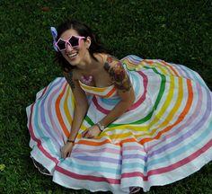 Rainbow Stripe Strapless Prism Dresscustomizable by MissBrache, $470.00