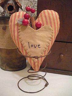 Primitive Heart Ticking Rusty Spring Make Do Decoration