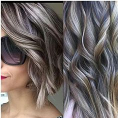 Hair Color And Cut, Cool Hair Color, Brown Hair Colors, Ash Blonde Hair, Dark Hair, Silver Hair Highlights, Ash Highlights, Grey Hair Transformation, Transition To Gray Hair