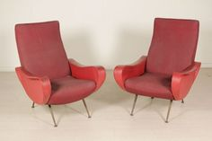 Two Armchairs Springs Foam Fabric Leatherette Metal Vitnage Italy 1950s
