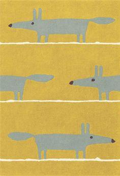 Mr Fox rug in mustard by Scion