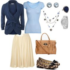 Feminine & Pretty, created by hasnija on Polyvore    Would never have thought to put those cute leopard flats with this outfit!