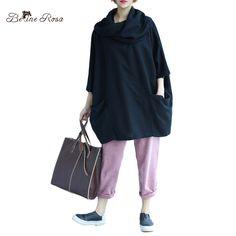 BelineRosa 5XL 6XL Big Sizes Women Clothing Autumn Winter Turtleneck Neck Batwing Sleeve Black Tops Shirts XMR00042