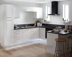 white and black kitchen with appliances - Kitchen Remodel With White Appliances