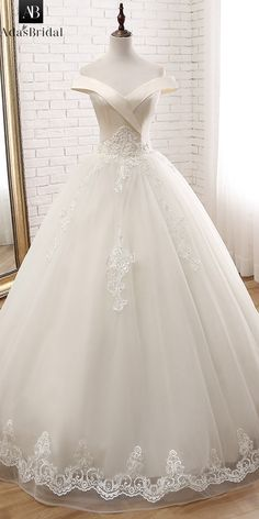 DelicateTulle Off-the-shoulder Neckline Ball Gown Wedding Dress With Beaded  Lace Appliques e98ee4fc8049