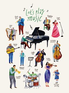whosgotmytail <Let's play music> poster / illustrated by Myeoung Joo -Kwak 곽명주 http://en.whosgotmytail.com/