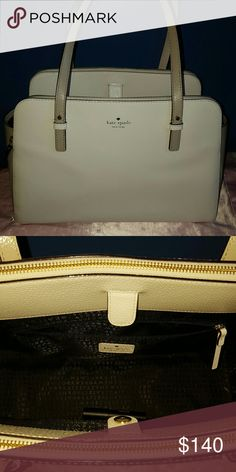 Kate Spade colorblock Lydia bag EUC. Kate spade Lydia in gorgeous cream/white and beige. Perfect inside. This bag has 2 zippered sections and middle section with magnetic closure. Also has small zippered pouch in center. Smoke free, pet free home. I used about 2x! Purchased online from katespade.com. kate spade Bags Shoulder Bags
