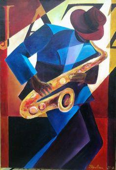 TABLEAU PEINTURE tableau peinture huile acrylique Personnages Peinture a l'huile  - le saxophoniste