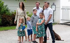 Crown Prince Frederik, Crown Princess Mary, Prince Christian, Princess Isabella, Prince Vincent, Princess Josephine at annual summer photocall in Grasten