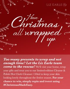 I'm in to win a personal Christmas gift wrapper from Liz Earle's #ChristmasMadeEasy. 2nd Dec only.