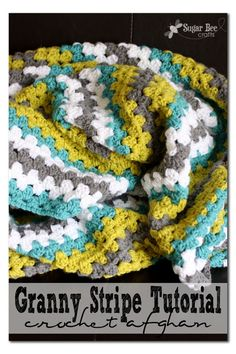 Granny Stripe Crochet Afghan Throw Blanket - i love this color combo!! - Sugar Bee Crafts