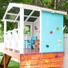 Learn how to build a DIY playhouse. This week we have all the details for how to roof the outdoor playhouse with corrugated roofing panels. #diyindoorplayhouse